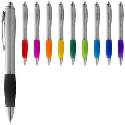 Nash Kugelschreiber silber mit farbigem Griff-blau-schwarze Mine