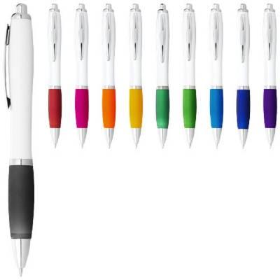 Nash Kugelschreiber weiß mit farbigem Griff-blau-blaue Mine