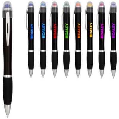 Nash farbig beleuchteter Kugelschreiber mit schwarzem Schaft-blau(royalblau)-blaue Mine