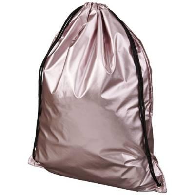Oriole glänzender Rucksack mit Kordelzug-rosa