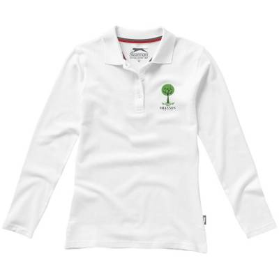 Point Damen Langarm Poloshirt-weiß-S