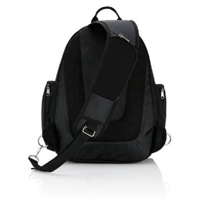 Querriemen 15 Zoll Laptop Rucksack - schwarz