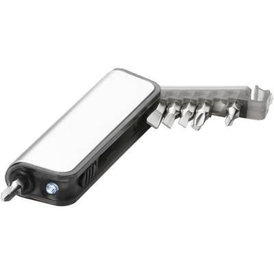 Reno Mini Werkzeug mit Taschenlampe-silber