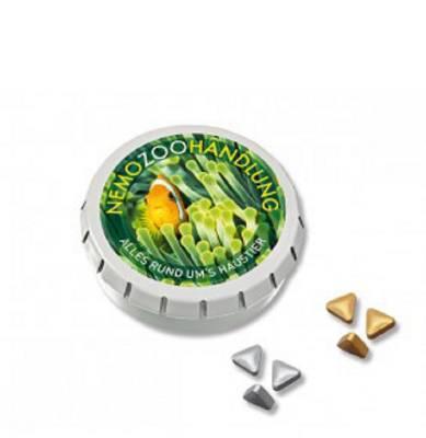 SUPER-MINI-Drück-mich-Dose mit Pfefferminz Gold- oder Silber