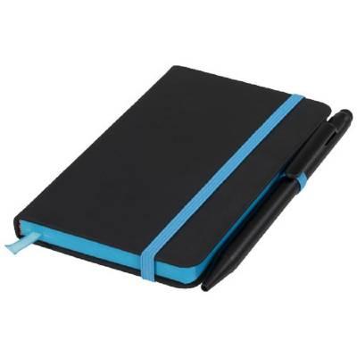 Schwarzes A6 Notizbuch mit farbigem Rand-blau