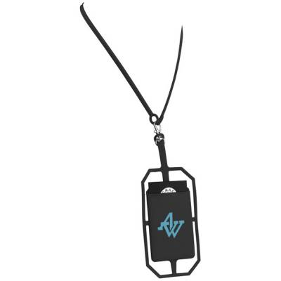 Silikon RFID Kartenhalter mit Lanyard-schwarz