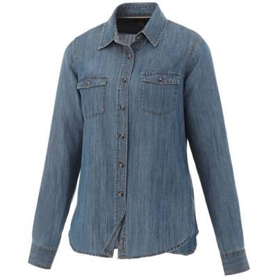 Elevate Sloan Langarm Damen Bluse in Jeansoptik