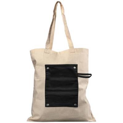 Snap Tragetasche aus 180 g/m² Baumwolle zum Aufrollen mit Kn-schwarz