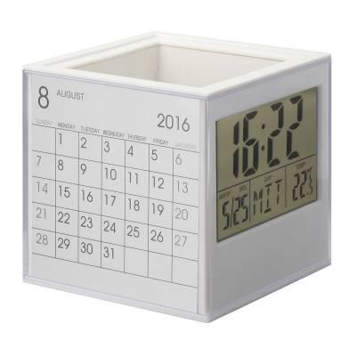 Stifteköcher mit Uhr, Thermometer und Kalender REFLECTS-BURN