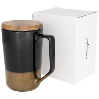Tahoe Keramikbecher für Tee und Kaffee mit Holzdeckel