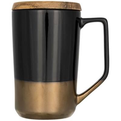 Tahoe Keramikbecher für Tee und Kaffee mit Holzdeckel-schwarz