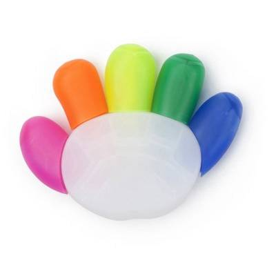 Textmarker Hand, 5-fbg.-mehrfarbig