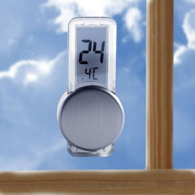 Thermometer Düsseldorf mit LCD-Display-silber