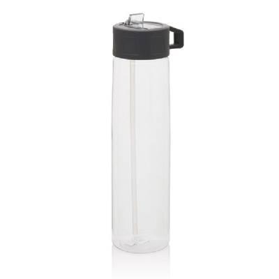 Tritan Trinkflasche mit Strohhalm-transparent