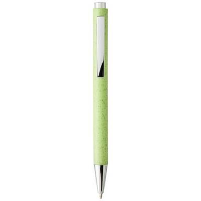 Tual Druckkugelschreiber aus Weizenstroh-grün(apfelgrün)-schwarze Mine