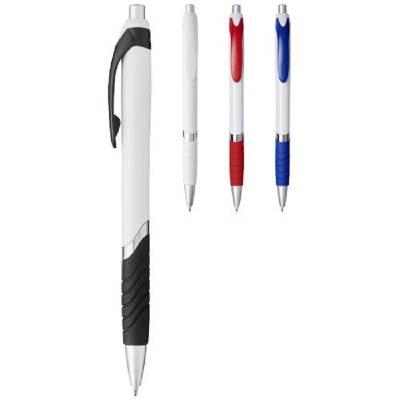 Turbo Kugelschreiber mit weißem Schaft-schwarz -blaue Mine