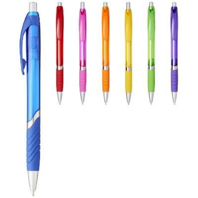 Turbo durchsichtiger Kugelschreiber mit Gummigriff-gelb-blaue Mine