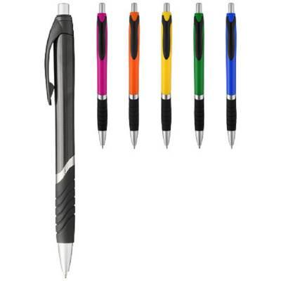 Turbo einfarbiger Kugelschreiber mit Gummigriff-pink(magenta),schwarz -blaue Mine