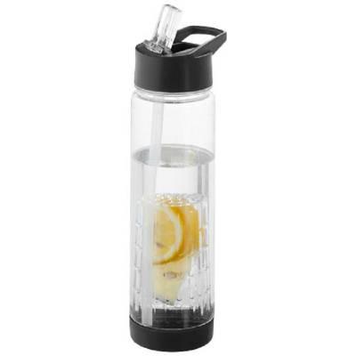 Tutti frutti Trinkflasche mit Fruchtsieb-schwarz(transparent)