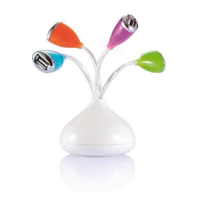 USB Hub Blume mit LED - weiß