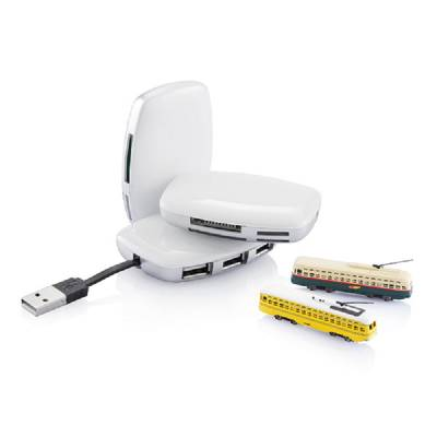 USB Hub Lübeck mit Kartenleser - weiß