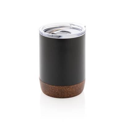 Vakuum-Tasse Merzig mit Kork-Details-schwarz