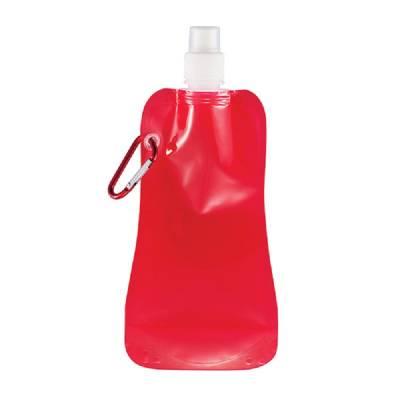 Faltbare Wasserflasche Rostock mit Karabiner - rot