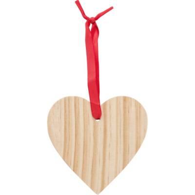 Weihnachtsbaumanhänger X-MAS Heart aus Holz