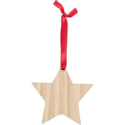 Weihnachtsbaumanhänger X-MAS Star aus Holz