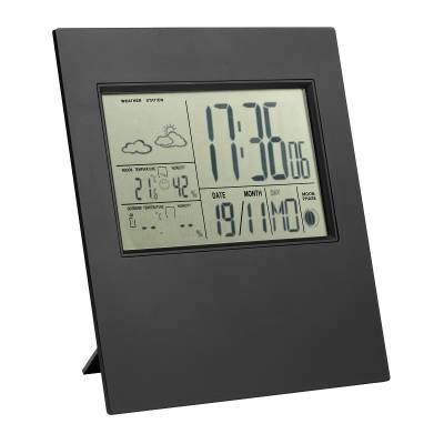 wetterstation mit au ensensor reflects zamora schwarz mit logo bedrucken als werbegeschenke. Black Bedroom Furniture Sets. Home Design Ideas