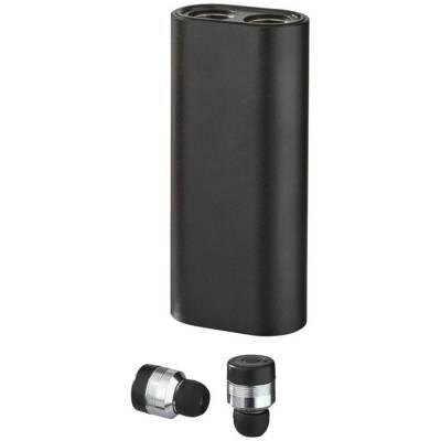 Wirless Metall Ohrhöhrer mit Powerbank-schwarz-2000 mAh