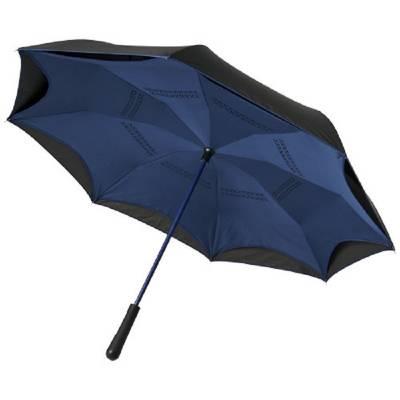 Yoon 23 Zoll umkehrbarer farbiger gerader Regenschirm-blau(navyblau)