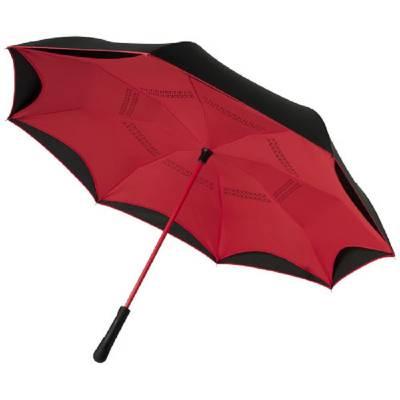 Yoon 23 Zoll umkehrbarer farbiger gerader Regenschirm-rot