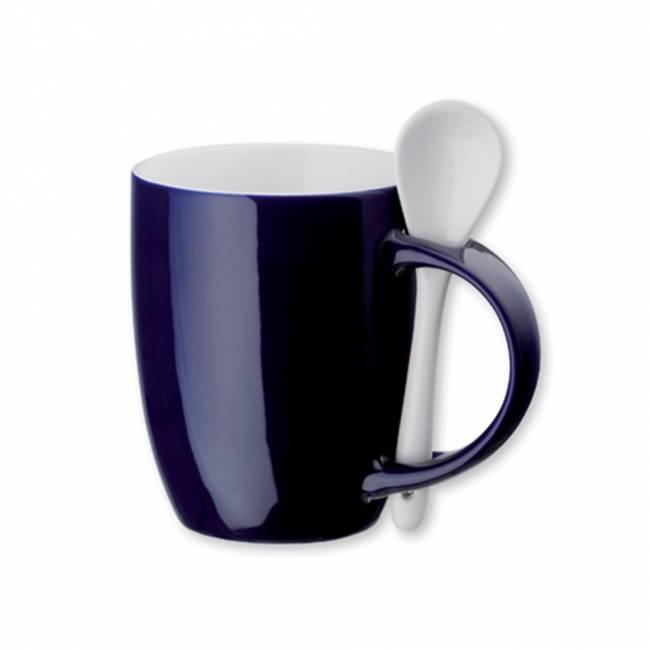 hercule tasse mit l ffel blau als werbemittel mit logo. Black Bedroom Furniture Sets. Home Design Ideas