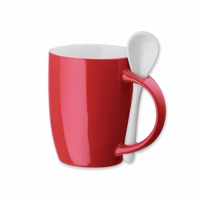 hercule tasse mit l ffel rot als werbemittel mit logo bedrucken er04199 30. Black Bedroom Furniture Sets. Home Design Ideas