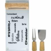 Käsebrett mit Käsemesser und Käsegabel