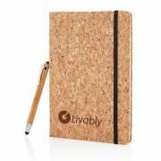 Kork A5 Notizbuch mit Bambus Stift und Stylus - braun