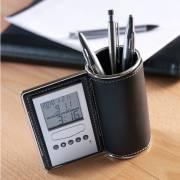 Kugelschreiberhalter mit Multifunktionsuhr-schwarz