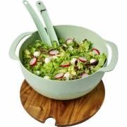 Lucha Salatschüssel aus Weizenstrohfaser mit Servierbesteck-grün(mintgrün)