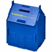 Unit Spardose aus Kunststoff in Hausform-blau